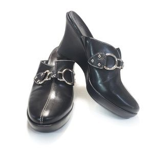 8 Cole Haan Learher Mule Clog Wedge Bridle Shoe